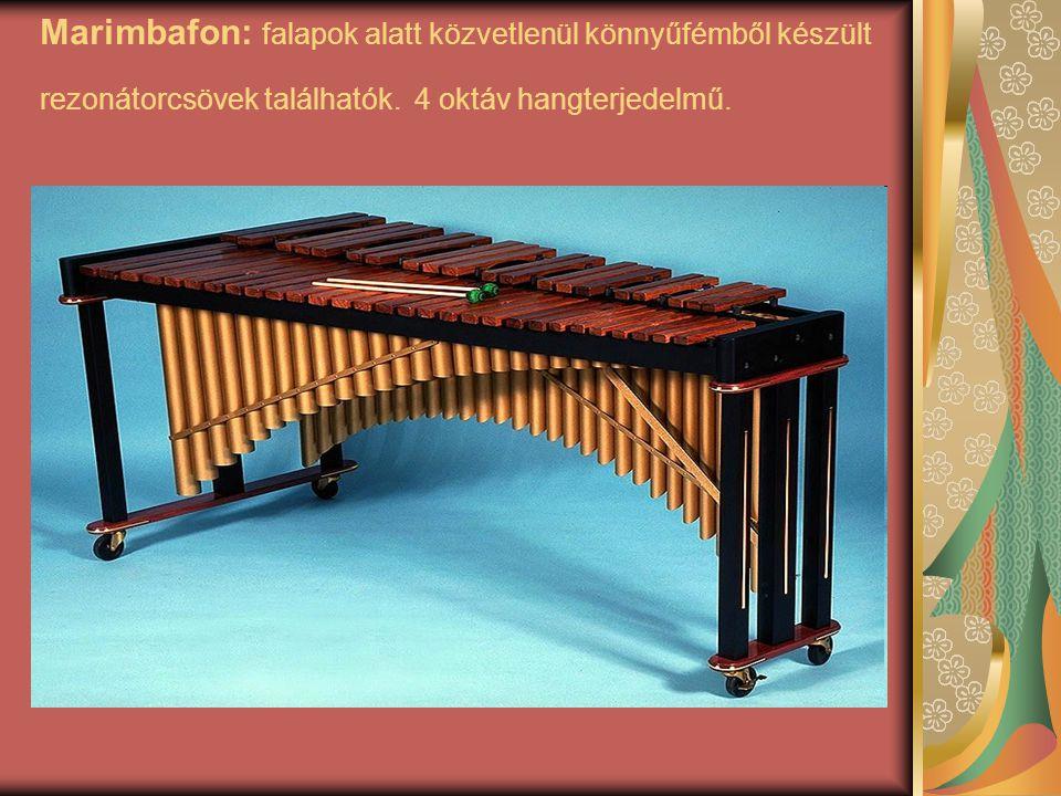 Marimbafon: falapok alatt közvetlenül könnyűfémből készült rezonátorcsövek találhatók. 4 oktáv hangterjedelmű.