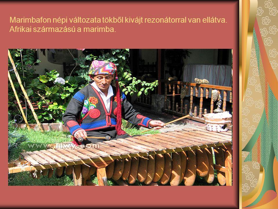 Marimbafon népi változata tökből kivájt rezonátorral van ellátva. Afrikai származású a marimba.
