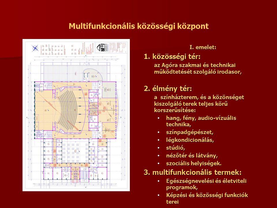 Multifunkcionális közösségi központ I. emelet: I. emelet: 1. közösségi tér: az Agóra szakmai és technikai működtetését szolgáló irodasor, 2. élmény té