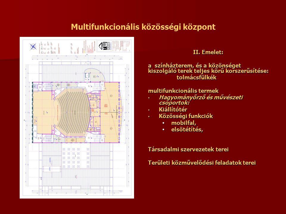 Multifunkcionális közösségi központ II. Emelet: a színházterem, és a közönséget kiszolgáló terek teljes körű korszerűsítése: tolmácsfülkék multifunkci