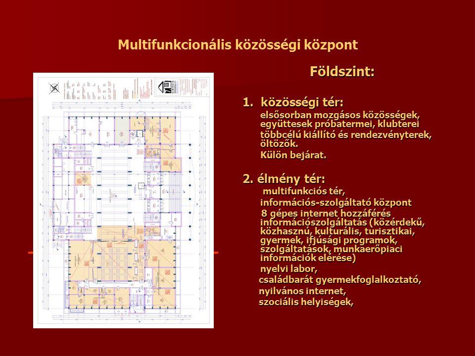 Multifunkcionális közösségi központ Földszint: 1. közösségi tér: elsősorban mozgásos közösségek, együttesek próbatermei, klubterei többcélú kiállító é