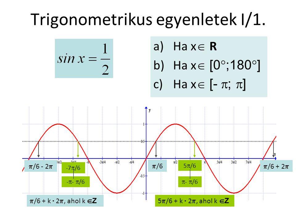 Trigonometrikus egyenletek I/1. a)Ha x  R b)Ha x  [0  ;180  ] c)Ha x  [-  ;  ]  /6  /6 + 2  /6 - 2   /6 + k  2 , ahol k  Z  -  /6 5