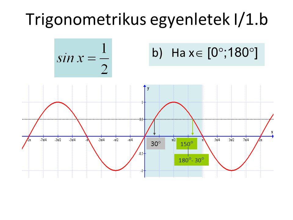 Trigonometrikus egyenletek I/1.b b)Ha x  [0  ;180  ] 30  180  - 30  150 