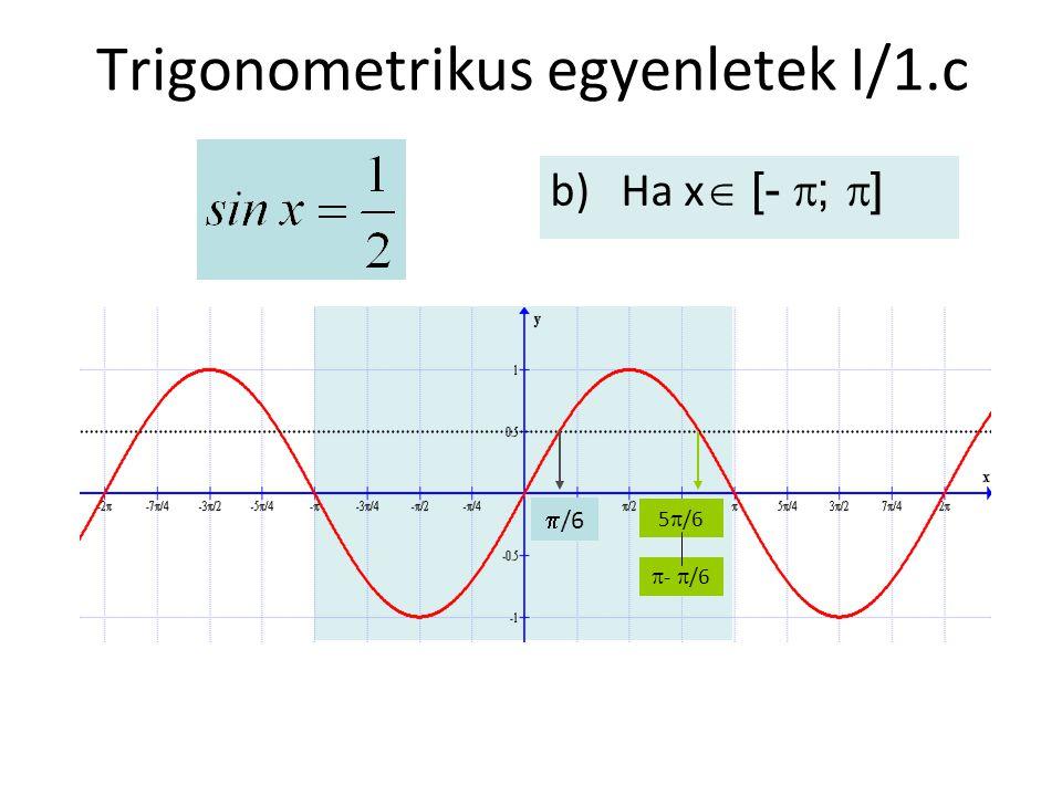 Trigonometrikus egyenletek I/1.c b)Ha x  [-  ;  ]  /6  -  /6 5  /6