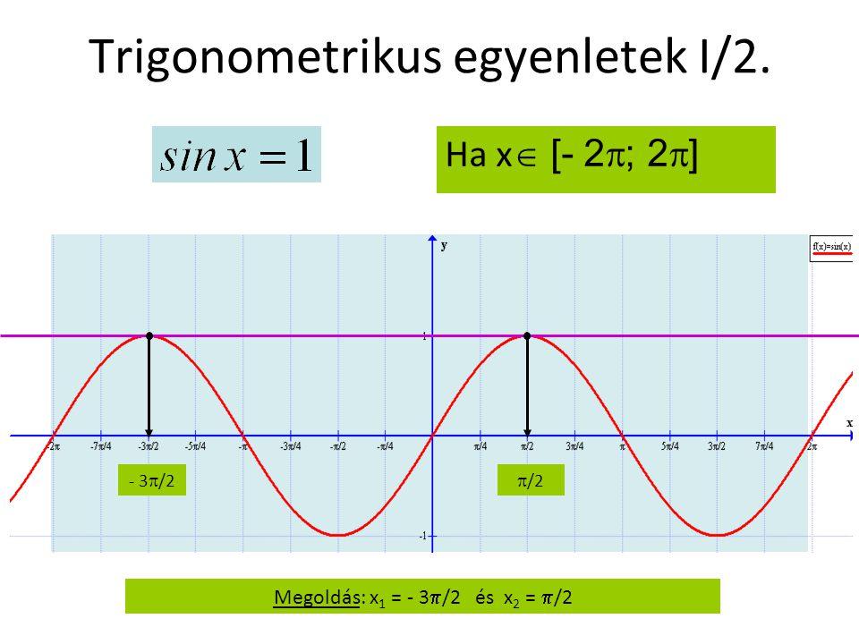 Trigonometrikus egyenletek I/2. Ha x  [- 2  ; 2  ] - 3  /2  /2 Megoldás: x 1 = - 3  /2 és x 2 =  /2