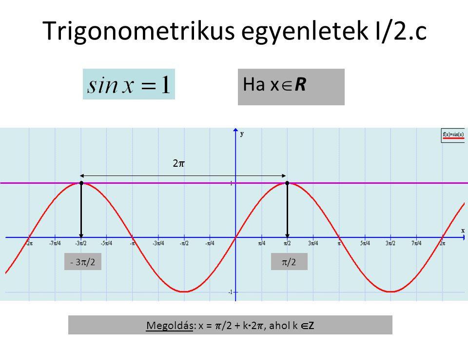 Trigonometrikus egyenletek I/2.c Ha x  R - 3  /2  /2 Megoldás: x =  /2 + k  2 , ahol k  Z 22