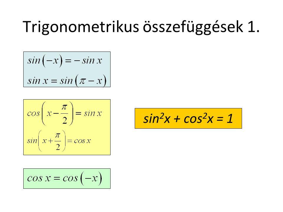 Trigonometrikus összefüggések 1. sin 2 x + cos 2 x = 1