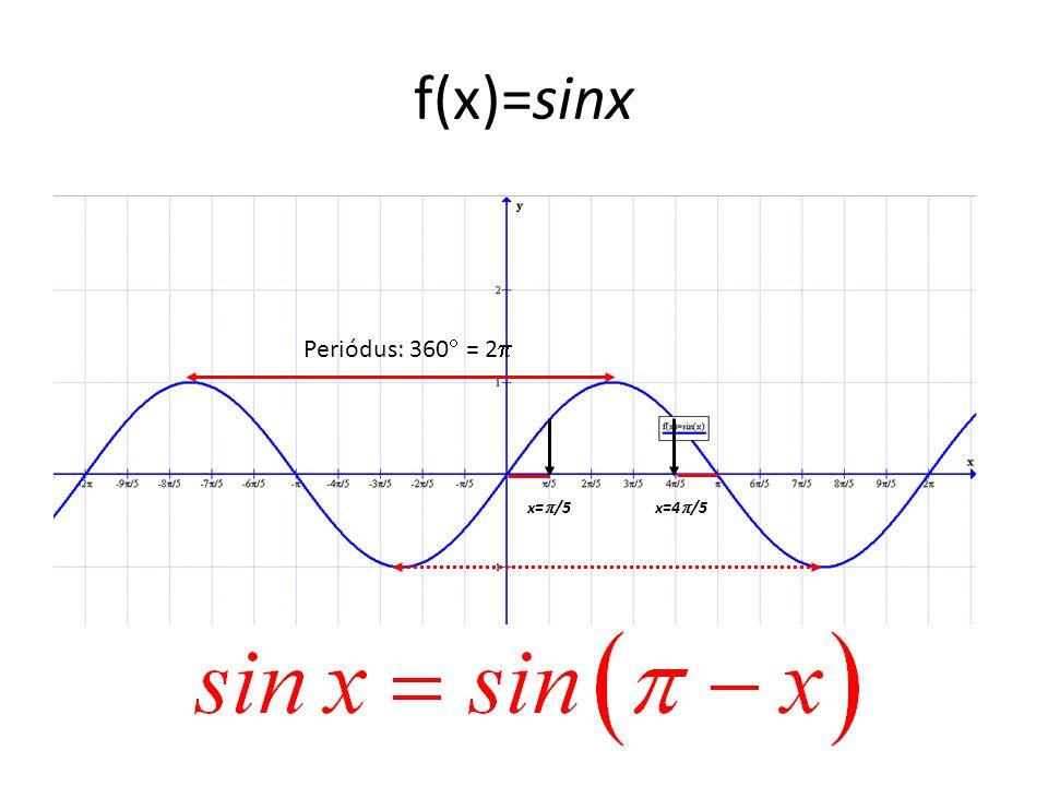 f(x)=sinx Periódus: 360  = 2  x=  /5x=4  /5