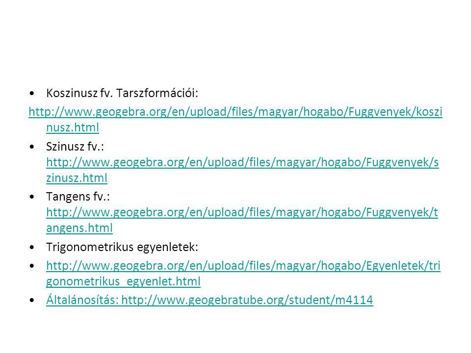 Koszinusz fv. Tarszformációi: http://www.geogebra.org/en/upload/files/magyar/hogabo/Fuggvenyek/koszi nusz.html Szinusz fv.: http://www.geogebra.org/en