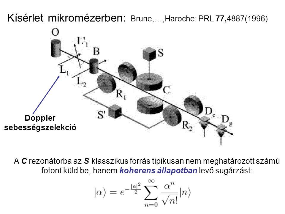 Kísérlet mikromézerben: Brune,…,Haroche: PRL 77,4887(1996) Doppler sebességszelekció A C rezonátorba az S klasszikus forrás tipikusan nem meghatározott számú fotont küld be, hanem koherens állapotban levő sugárzást: