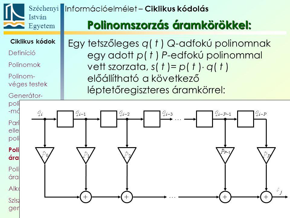 Széchenyi István Egyetem 37 Ciklikus kódok Definíció Polinomok Polinom- véges testek Generátor- polinom, és -mátrix Paritás- ellenőrző polinom Polinom