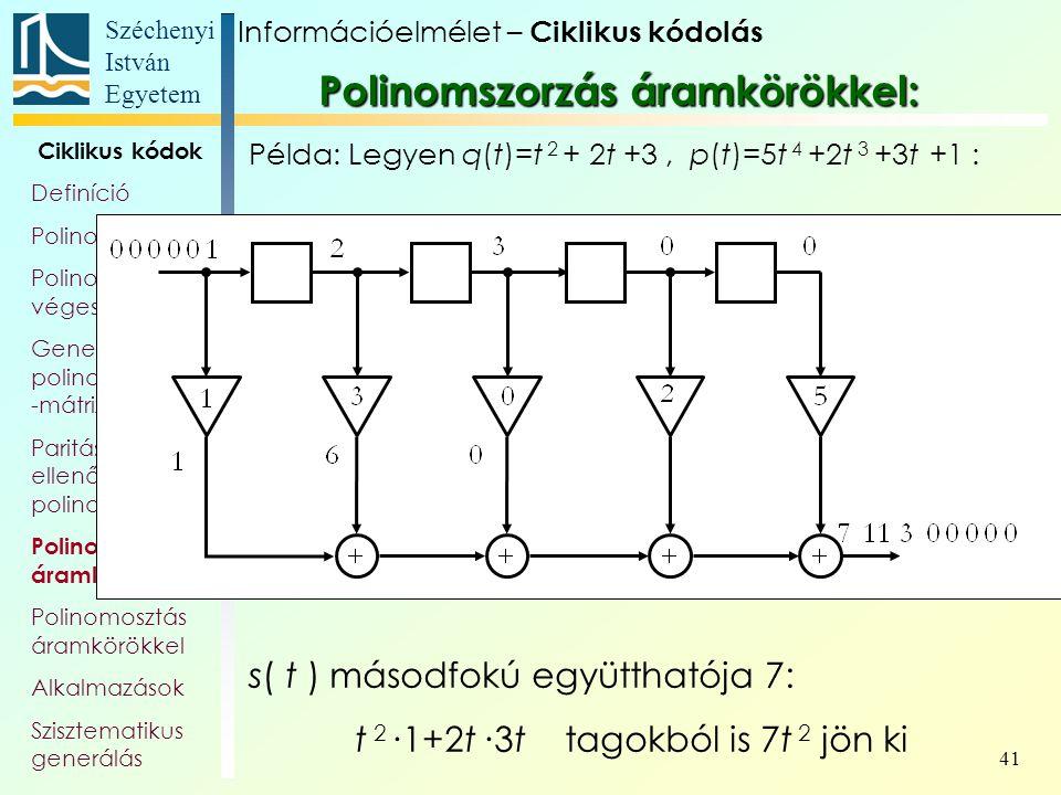 Széchenyi István Egyetem 41 Ciklikus kódok Definíció Polinomok Polinom- véges testek Generátor- polinom, és -mátrix Paritás- ellenőrző polinom Polinom