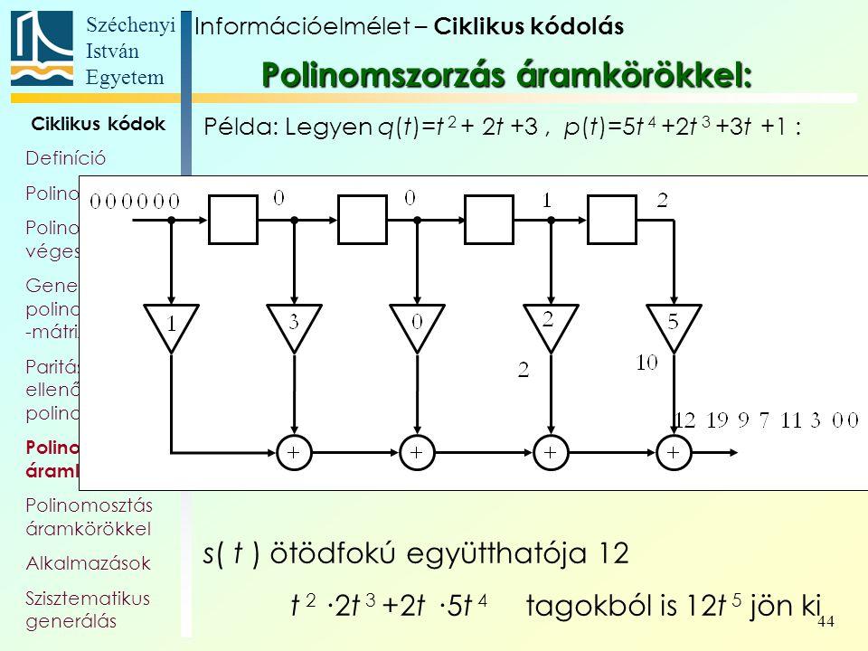 Széchenyi István Egyetem 44 Ciklikus kódok Definíció Polinomok Polinom- véges testek Generátor- polinom, és -mátrix Paritás- ellenőrző polinom Polinom