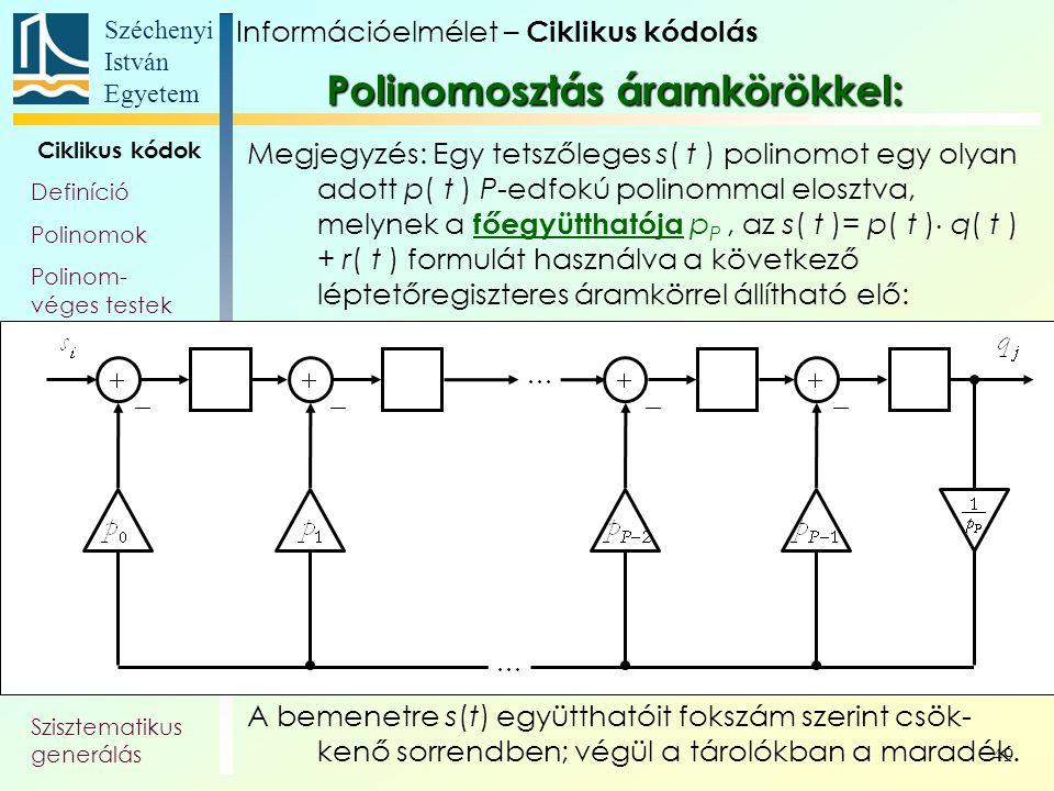 Széchenyi István Egyetem 49 Ciklikus kódok Definíció Polinomok Polinom- véges testek Generátor- polinom, és -mátrix Paritás- ellenőrző polinom Polinom