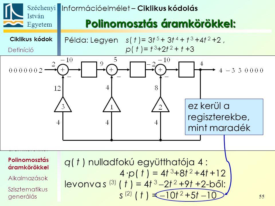 Széchenyi István Egyetem 55 Ciklikus kódok Definíció Polinomok Polinom- véges testek Generátor- polinom, és -mátrix Paritás- ellenőrző polinom Polinom
