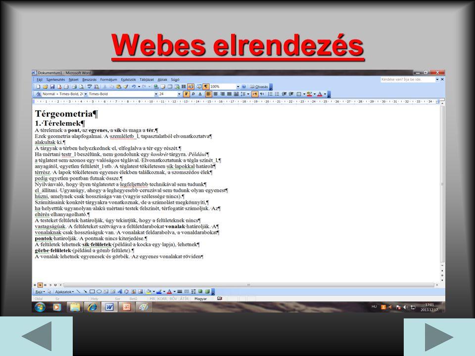 Webes elrendezés