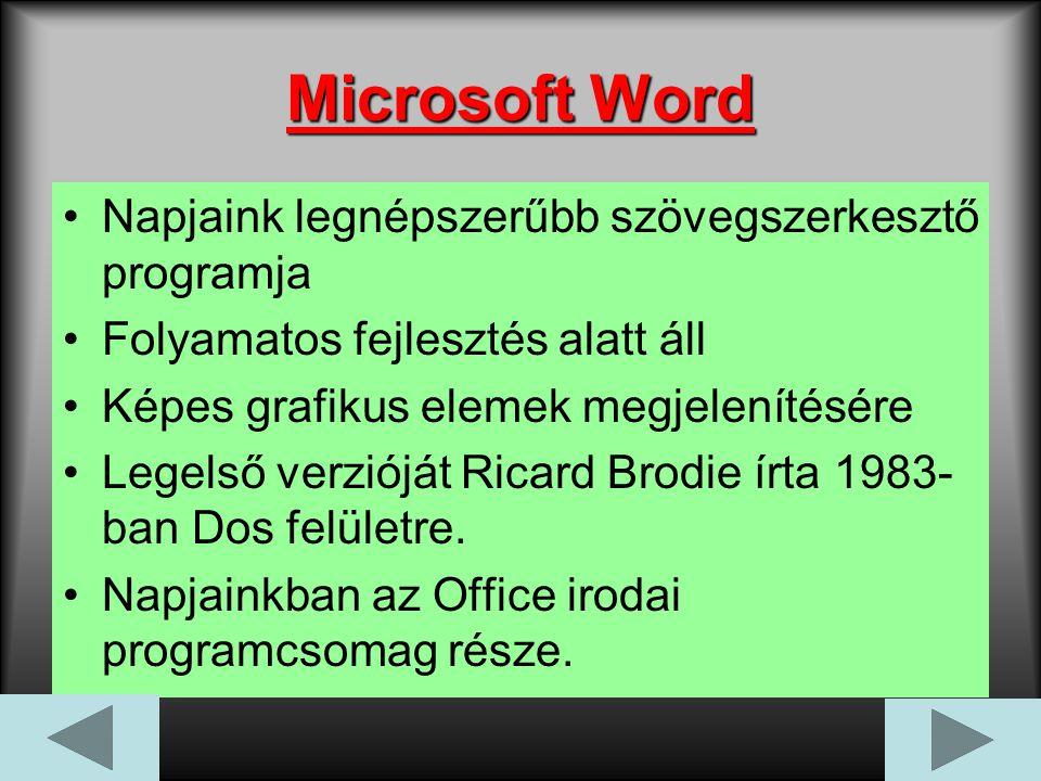 Microsoft Word Napjaink legnépszerűbb szövegszerkesztő programja Folyamatos fejlesztés alatt áll Képes grafikus elemek megjelenítésére Legelső verzióját Ricard Brodie írta 1983- ban Dos felületre.