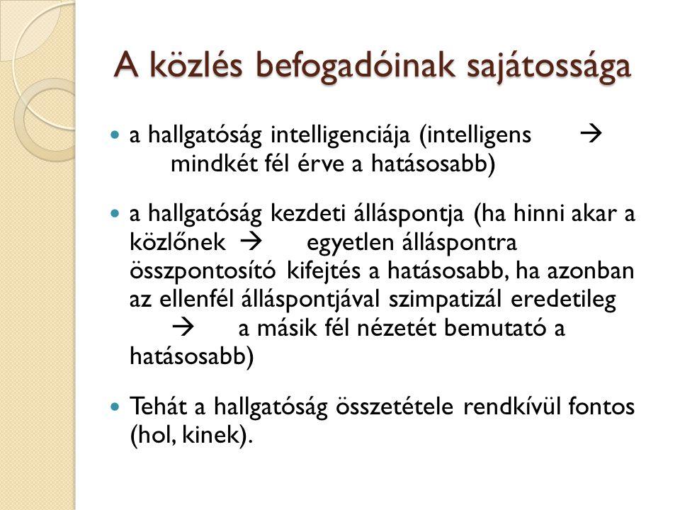 A közlés befogadóinak sajátossága a hallgatóság intelligenciája (intelligens  mindkét fél érve a hatásosabb) a hallgatóság kezdeti álláspontja (ha hi