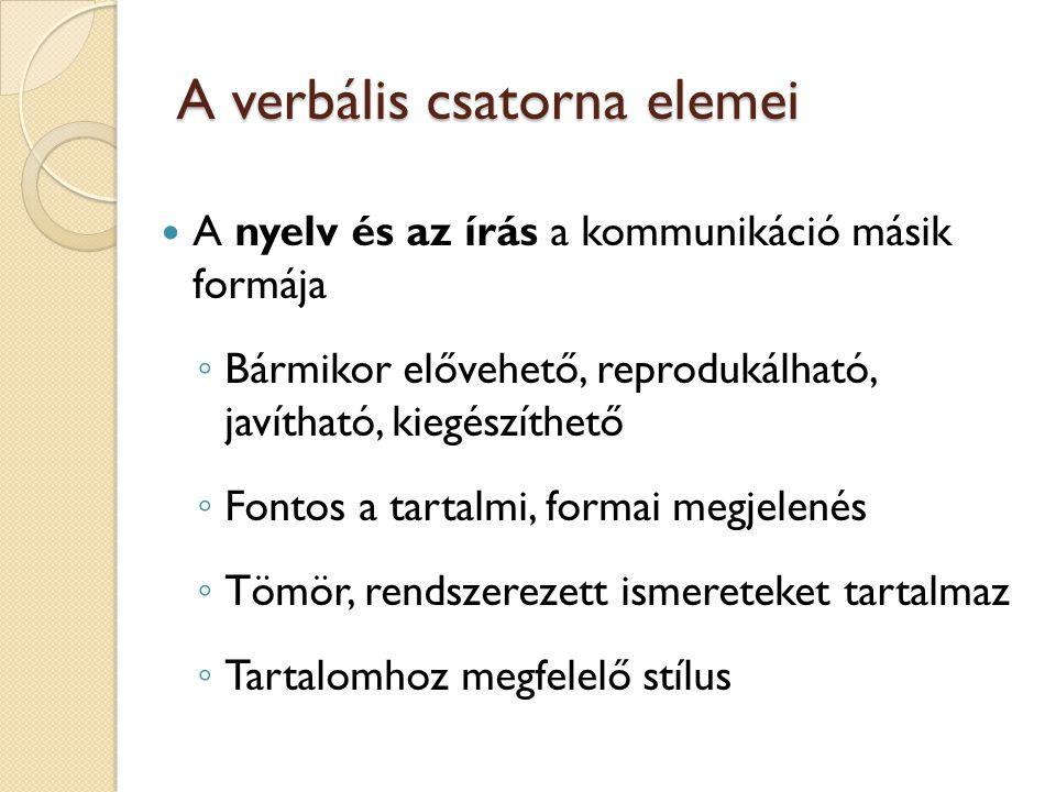 A verbális csatorna elemei A nyelv és az írás a kommunikáció másik formája ◦ Bármikor elővehető, reprodukálható, javítható, kiegészíthető ◦ Fontos a t