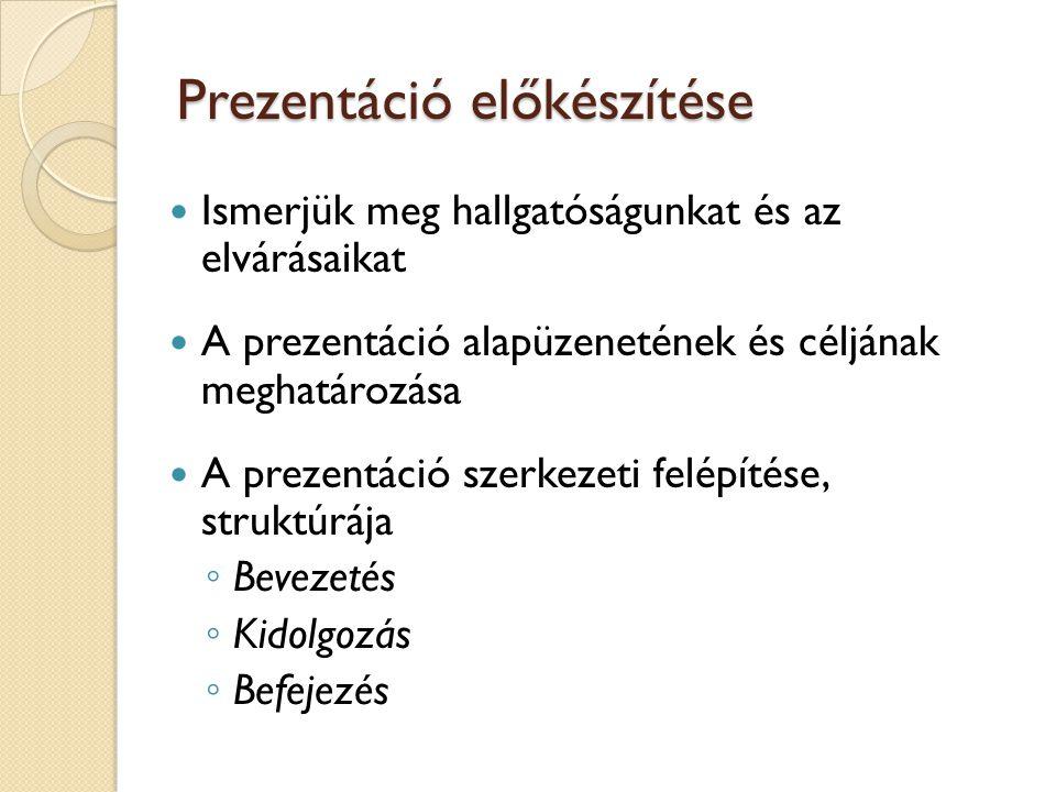 A prezentáció folyamata Felkészülés Prezentáció Utánkövetés