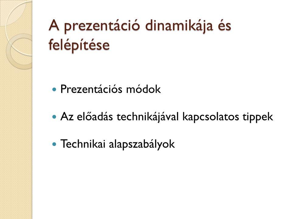 A prezentáció dinamikája és felépítése Prezentációs módok Az előadás technikájával kapcsolatos tippek Technikai alapszabályok