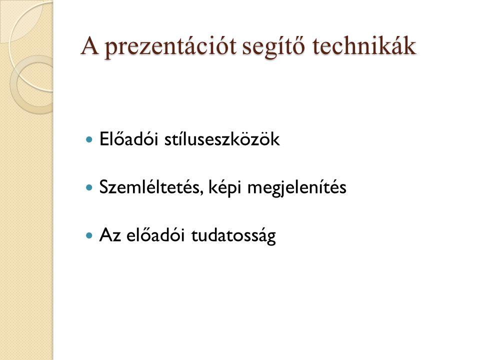 A prezentációt segítő technikák Előadói stíluseszközök Szemléltetés, képi megjelenítés Az előadói tudatosság