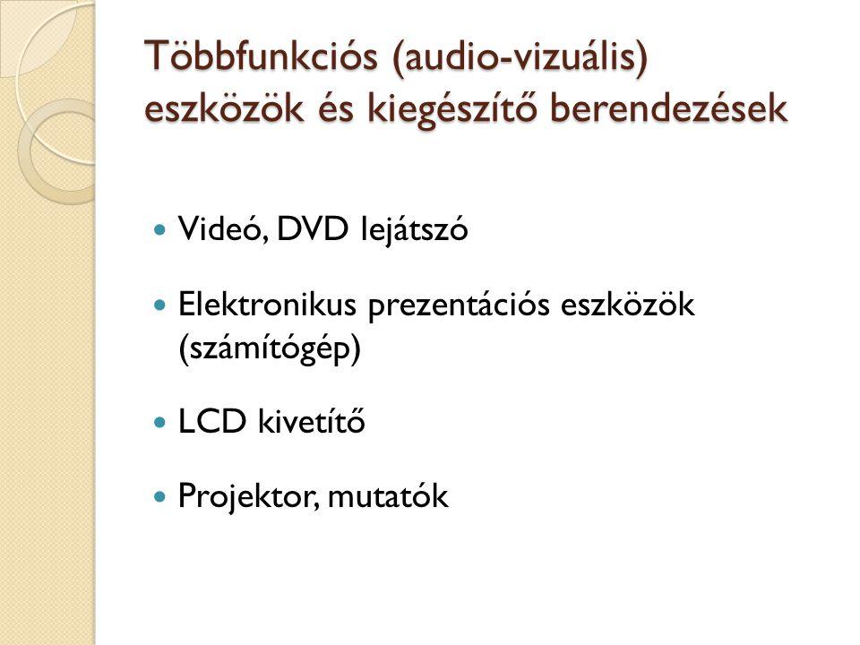 Többfunkciós (audio-vizuális) eszközök és kiegészítő berendezések Videó, DVD lejátszó Elektronikus prezentációs eszközök (számítógép) LCD kivetítő Pro