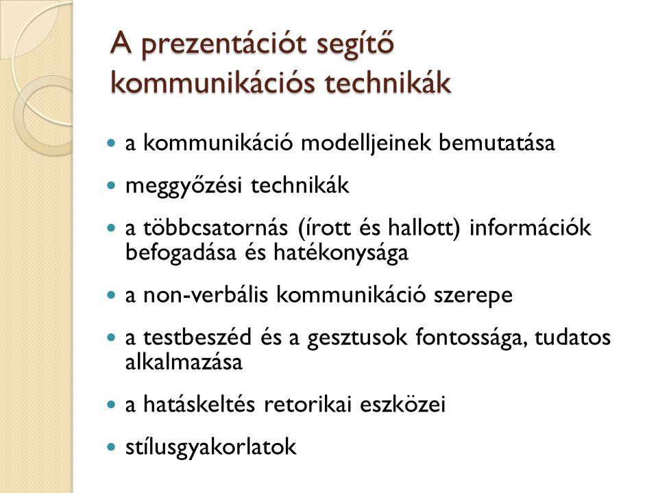 A prezentációt segítő kommunikációs technikák a kommunikáció modelljeinek bemutatása meggyőzési technikák a többcsatornás (írott és hallott) informáci