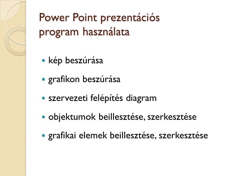 Power Point prezentációs program használata kép beszúrása grafikon beszúrása szervezeti felépítés diagram objektumok beillesztése, szerkesztése grafik