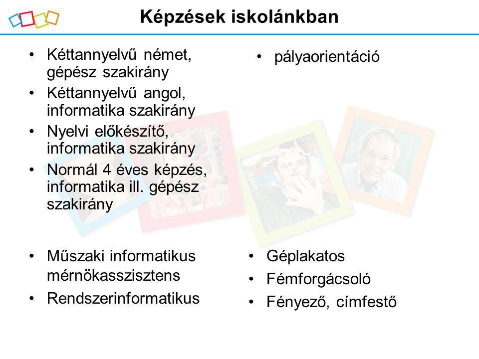Képzések iskolánkban Kéttannyelvű német, gépész szakirány Kéttannyelvű angol, informatika szakirány Nyelvi előkészítő, informatika szakirány Normál 4 éves képzés, informatika ill.