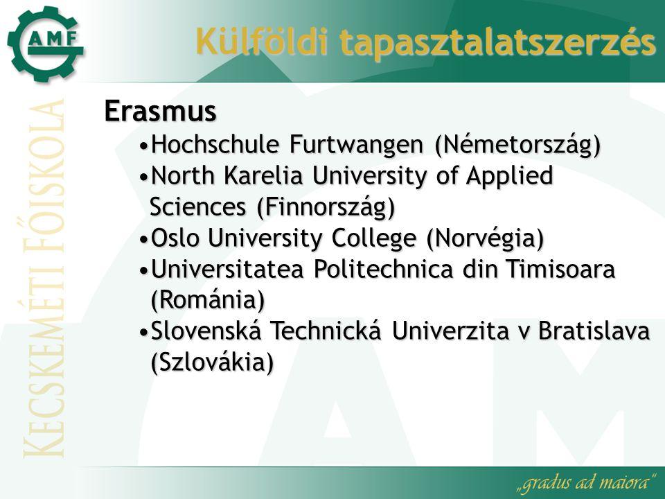Külföldi tapasztalatszerzés Erasmus Hochschule Furtwangen (Németország)Hochschule Furtwangen (Németország) North Karelia University of Applied Science