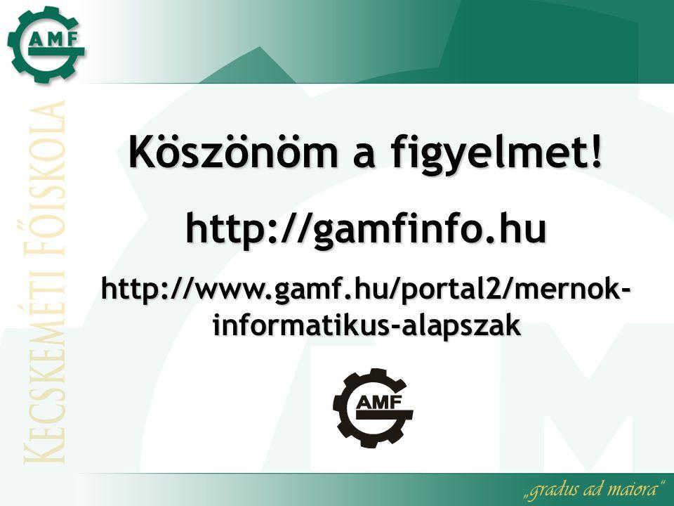 Köszönöm a figyelmet! http://gamfinfo.hu http://www.gamf.hu/portal2/mernok- informatikus-alapszak