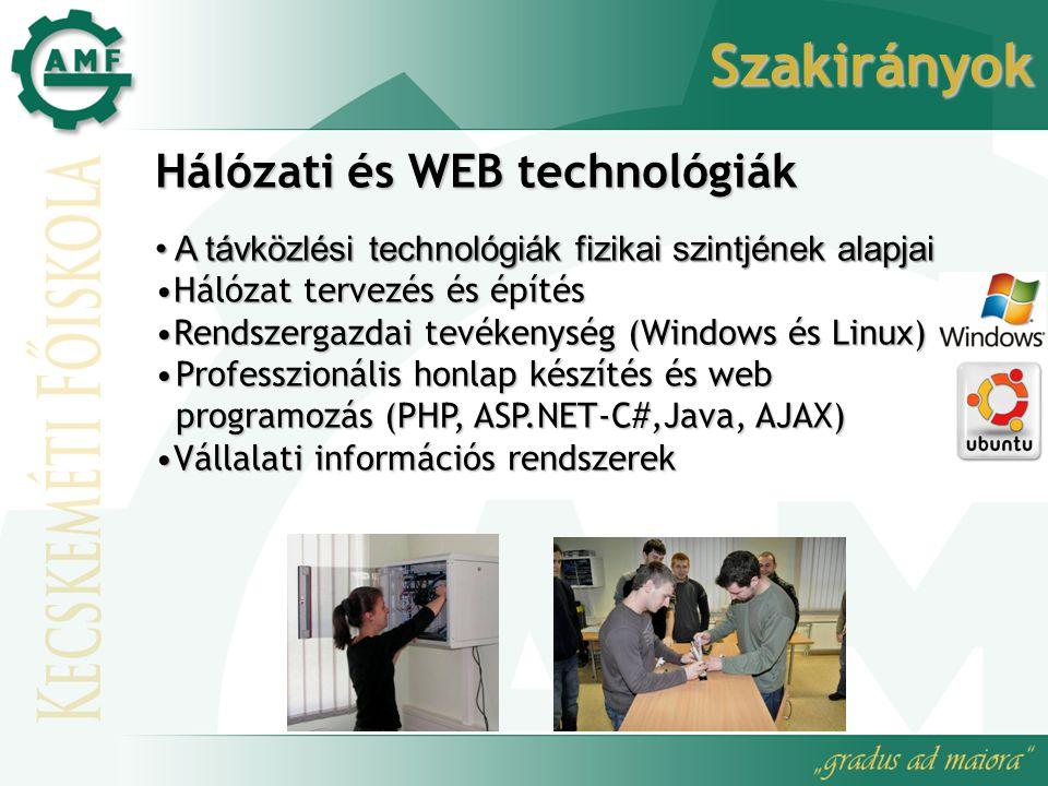 Szakirányok Hálózati és WEB technológiák A távközlési technológiák fizikai szintjének alapjai A távközlési technológiák fizikai szintjének alapjai Hálózat tervezés és építésHálózat tervezés és építés Rendszergazdai tevékenység (Windows és Linux)Rendszergazdai tevékenység (Windows és Linux) Professzionális honlap készítés és web programozás (PHP, ASP.NET-C#,Java, AJAX)Professzionális honlap készítés és web programozás (PHP, ASP.NET-C#,Java, AJAX) Vállalati információs rendszerekVállalati információs rendszerek