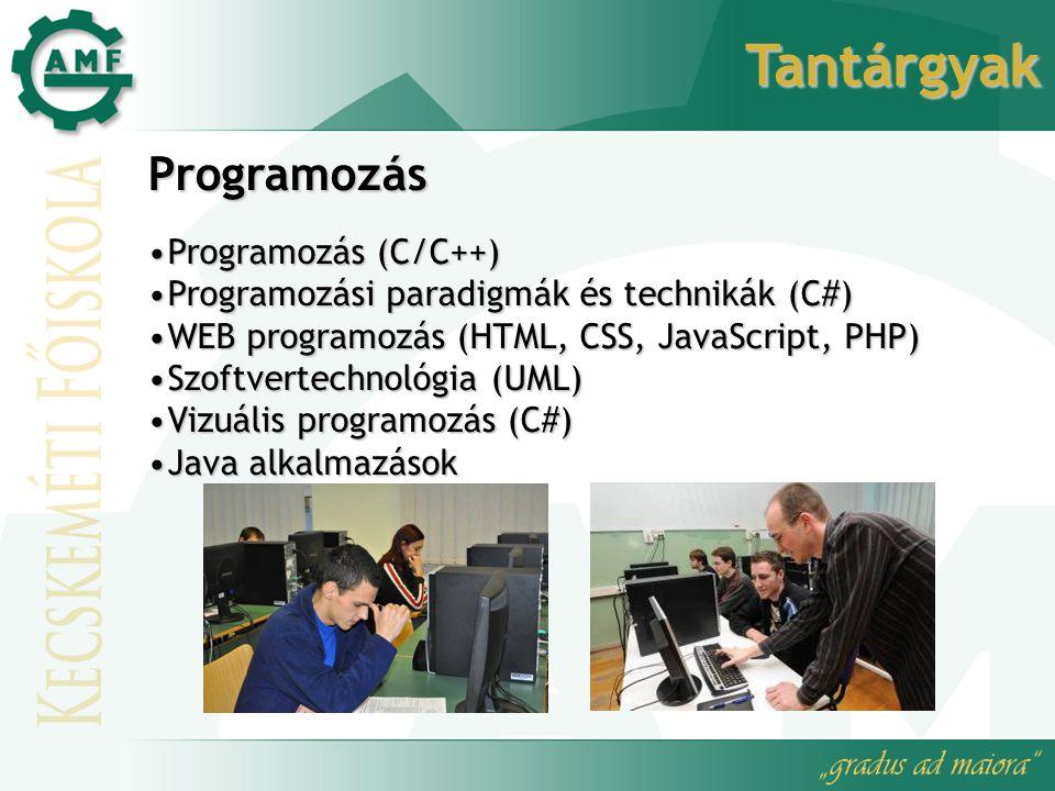 Tantárgyak Programozás Programozás (C/C++)Programozás (C/C++) Programozási paradigmák és technikák (C#)Programozási paradigmák és technikák (C#) WEB programozás (HTML, CSS, JavaScript, PHP)WEB programozás (HTML, CSS, JavaScript, PHP) Szoftvertechnológia (UML)Szoftvertechnológia (UML) Vizuális programozás (C#)Vizuális programozás (C#) Java alkalmazásokJava alkalmazások