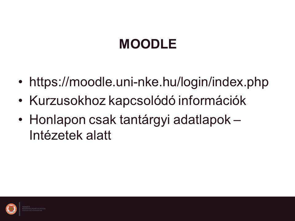MOODLE https://moodle.uni-nke.hu/login/index.php Kurzusokhoz kapcsolódó információk Honlapon csak tantárgyi adatlapok – Intézetek alatt