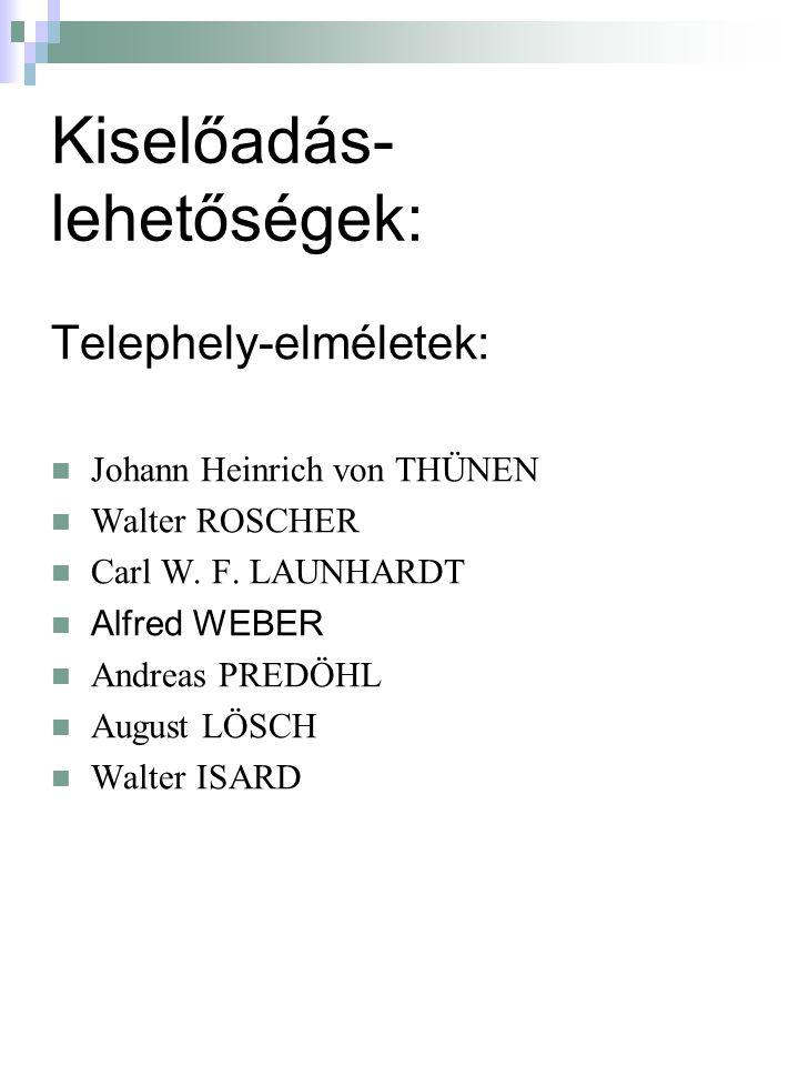 Kiselőadás- lehetőségek: Telephely-elméletek: Johann Heinrich von THÜNEN Walter ROSCHER Carl W.