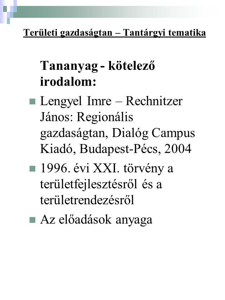 Területi gazdaságtan – Tantárgyi tematika Tananyag - kötelező irodalom: Lengyel Imre – Rechnitzer János: Regionális gazdaságtan, Dialóg Campus Kiadó, Budapest-Pécs, 2004 1996.