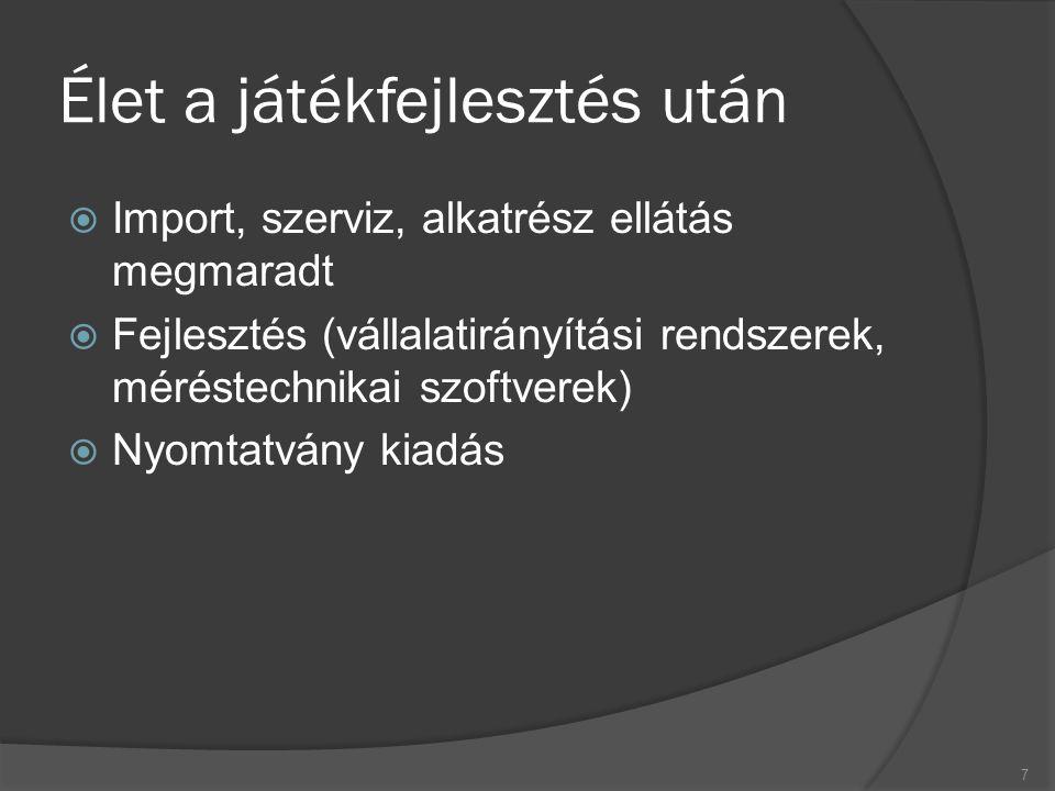Élet a játékfejlesztés után  Import, szerviz, alkatrész ellátás megmaradt  Fejlesztés (vállalatirányítási rendszerek, méréstechnikai szoftverek)  Nyomtatvány kiadás 7