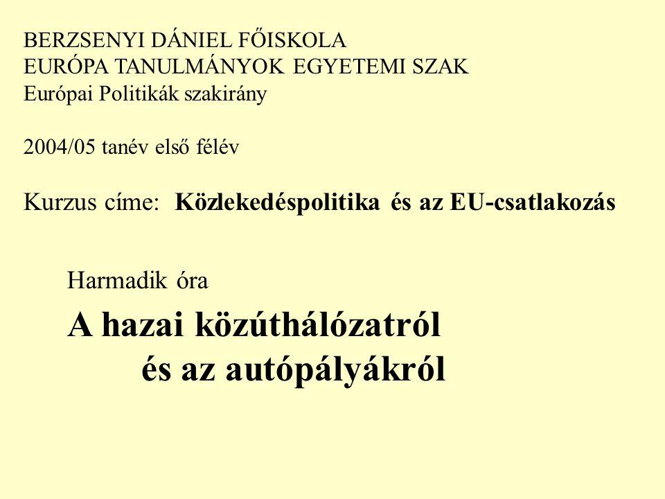BERZSENYI DÁNIEL FŐISKOLA EURÓPA TANULMÁNYOK EGYETEMI SZAK Európai Politikák szakirány 2004/05 tanév első félév Kurzus címe: Közlekedéspolitika és az EU-csatlakozás Harmadik óra A hazai közúthálózatról és az autópályákról
