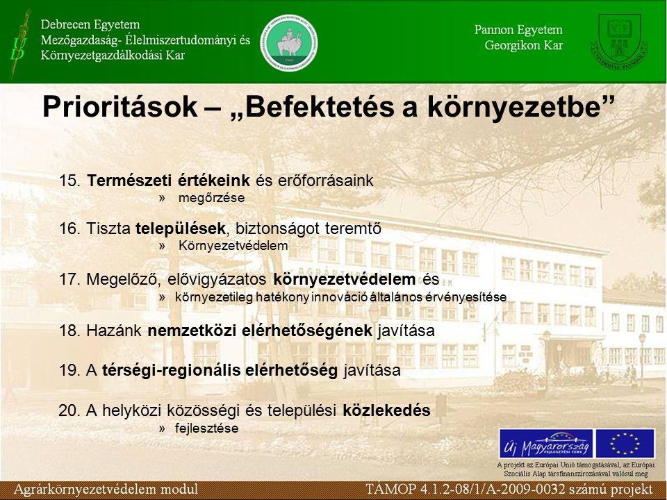 """Prioritások – """"Befektetés a környezetbe"""" 15. Természeti értékeink és erőforrásaink » megőrzése 16. Tiszta települések, biztonságot teremtő » Környezet"""