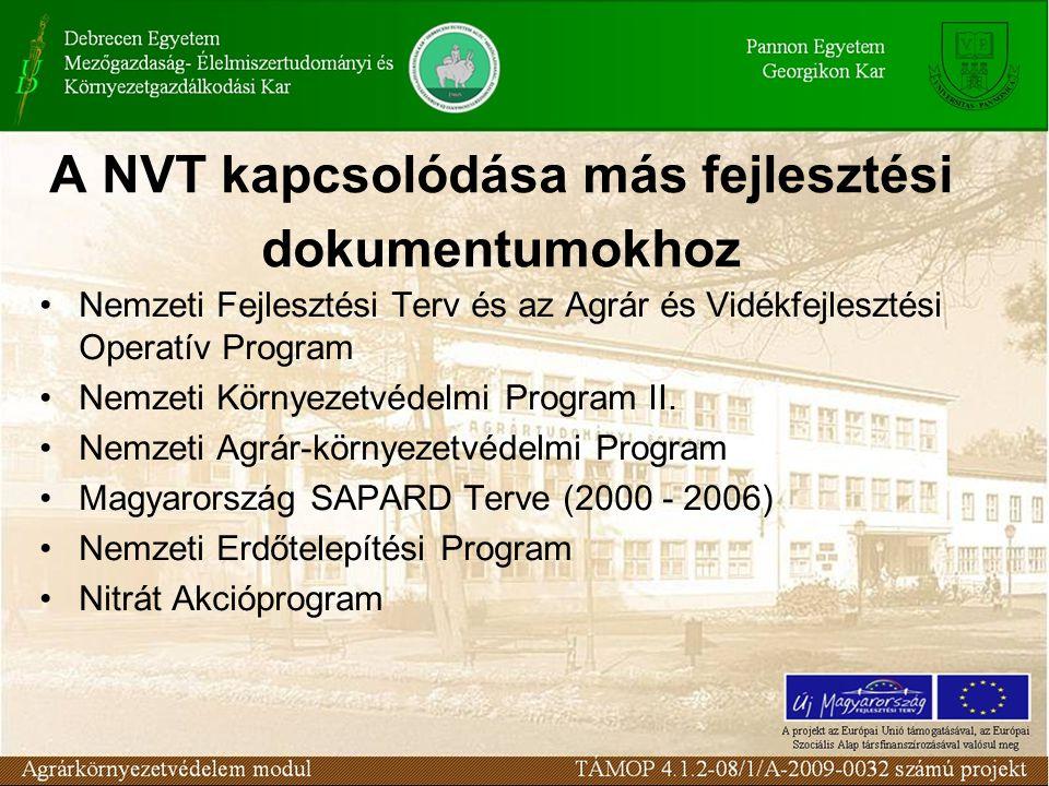 A NVT kapcsolódása más fejlesztési dokumentumokhoz Nemzeti Fejlesztési Terv és az Agrár és Vidékfejlesztési Operatív Program Nemzeti Környezetvédelmi
