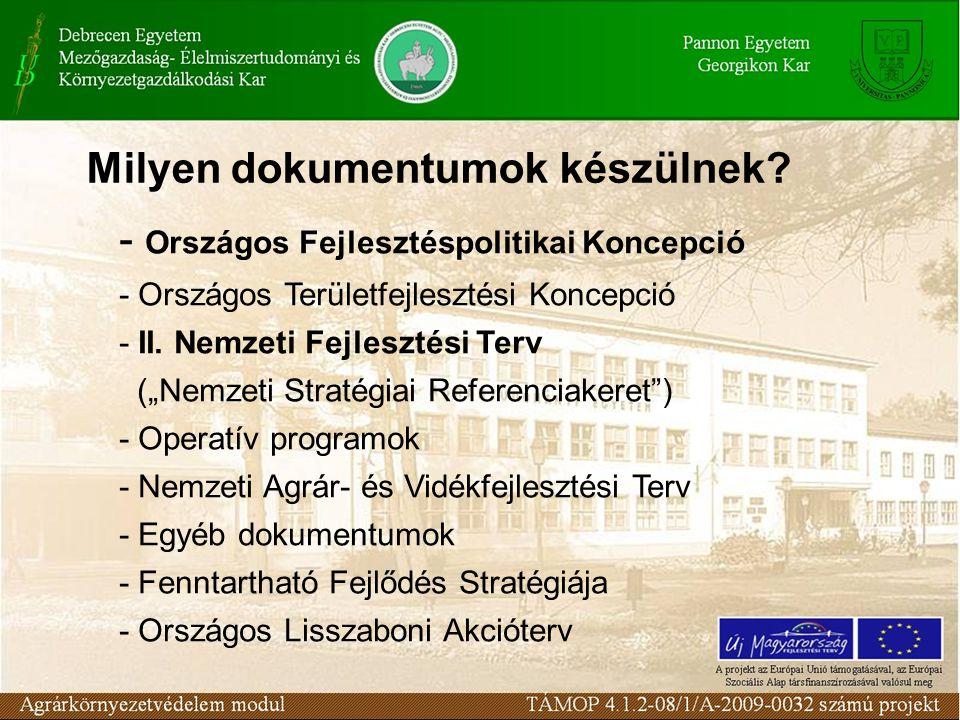 """- Országos Fejlesztéspolitikai Koncepció - Országos Területfejlesztési Koncepció - II. Nemzeti Fejlesztési Terv (""""Nemzeti Stratégiai Referenciakeret"""")"""