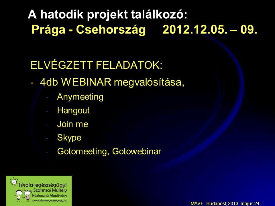 MAVE Budapest, 2013. május 24. A hatodik projekt találkozó: Prága - Csehország 2012.12.05.