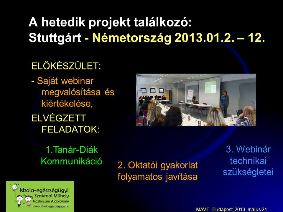 MAVE Budapest, 2013. május 24. A hetedik projekt találkozó: Stuttgárt - Németország 2013.01.2.