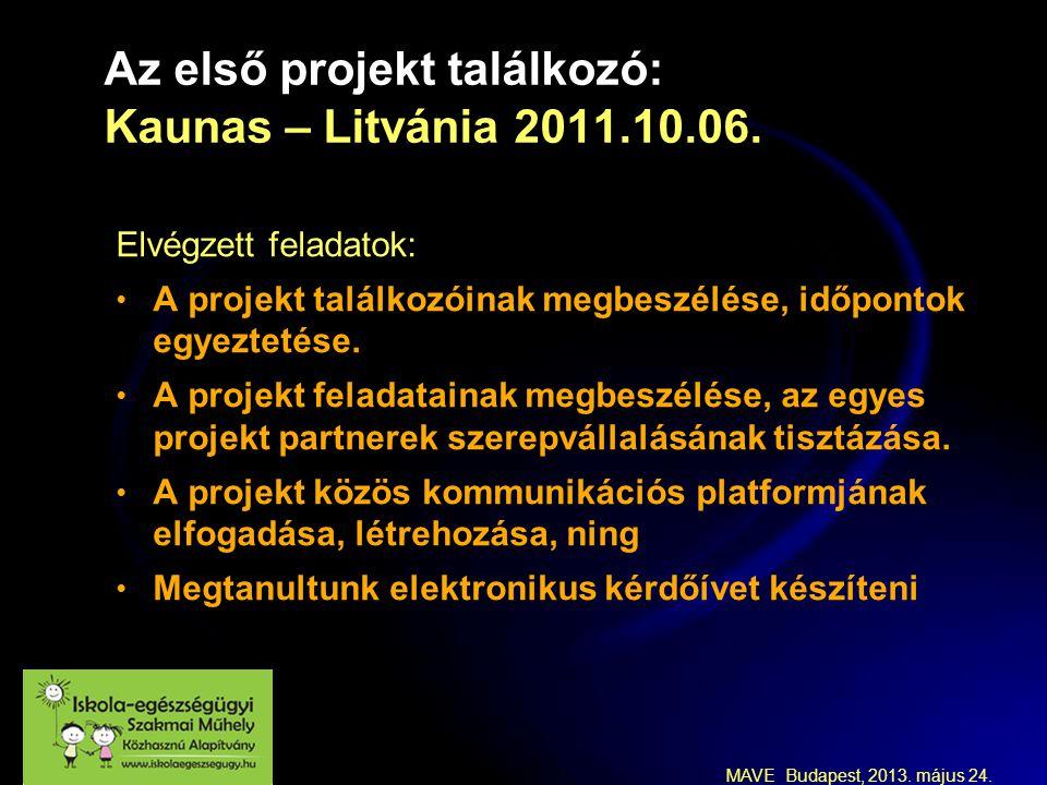 MAVE Budapest, 2013. május 24. Az első projekt találkozó: Kaunas – Litvánia 2011.10.06.