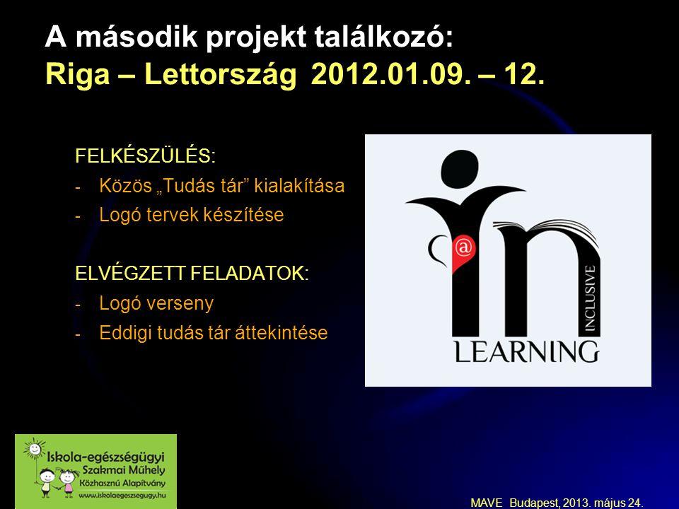 MAVE Budapest, 2013. május 24. A második projekt találkozó: Riga – Lettország 2012.01.09.