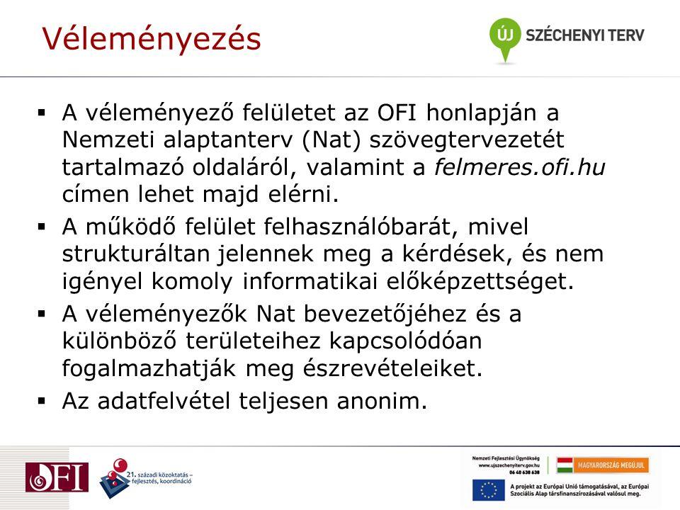  A véleményező felületet az OFI honlapján a Nemzeti alaptanterv (Nat) szövegtervezetét tartalmazó oldaláról, valamint a felmeres.ofi.hu címen lehet m
