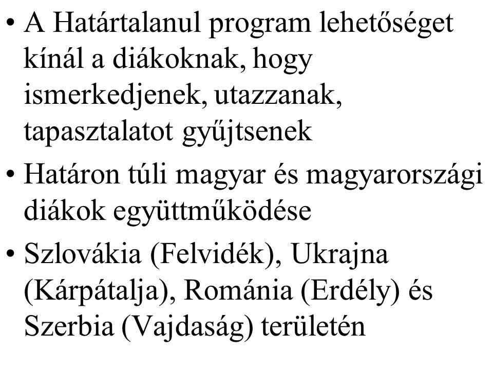A Határtalanul program lehetőséget kínál a diákoknak, hogy ismerkedjenek, utazzanak, tapasztalatot gyűjtsenek Határon túli magyar és magyarországi diákok együttműködése Szlovákia (Felvidék), Ukrajna (Kárpátalja), Románia (Erdély) és Szerbia (Vajdaság) területén