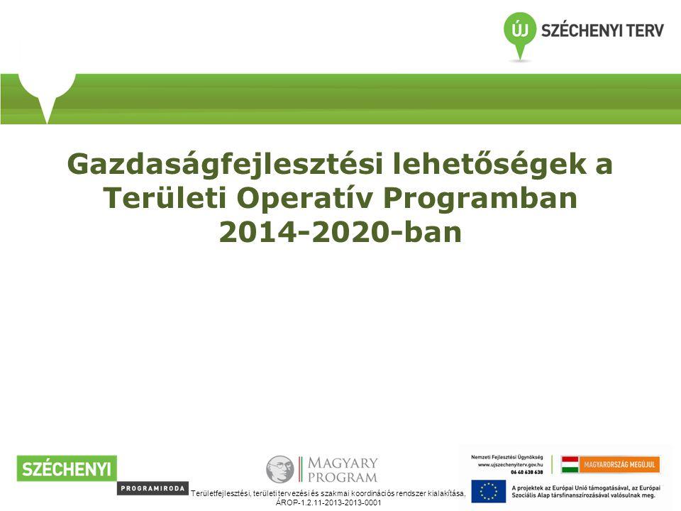 Gazdaságfejlesztési lehetőségek a Területi Operatív Programban 2014-2020-ban Területfejlesztési, területi tervezési és szakmai koordinációs rendszer kialakítása, ÁROP-1.2.11-2013-2013-0001