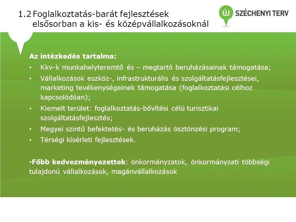 1.2Foglalkoztatás-barát fejlesztések elsősorban a kis- és középvállalkozásoknál Az intézkedés tartalma: Kkv-k munkahelyteremtő és – megtartó beruházásainak támogatása; Vállalkozások eszköz-, infrastrukturális és szolgáltatásfejlesztései, marketing tevékenységeinek támogatása (foglalkoztatási célhoz kapcsolódóan); Kiemelt terület: foglalkoztatás-bővítési célú turisztikai szolgáltatásfejlesztés; Megyei szintű befektetés- és beruházás ösztönzési program; Térségi kísérleti fejlesztések.